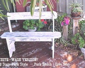 """BENCH - FREE SHIPPING - Country Primitive - Distressed WHiTE Version - Great Price! - 42"""" Seat Bench - Porch-Mud Room-Patio-Etc - C Details"""