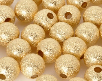 Stardust-4mm Round Beads-Gold-Quantity 12
