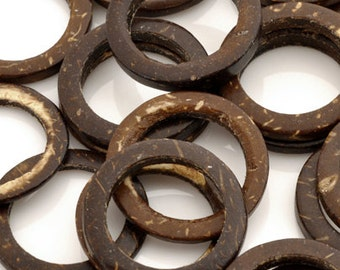 Natural-25mm Coconut Ring Beads-No Beading Hole-Brown-Quantity 12