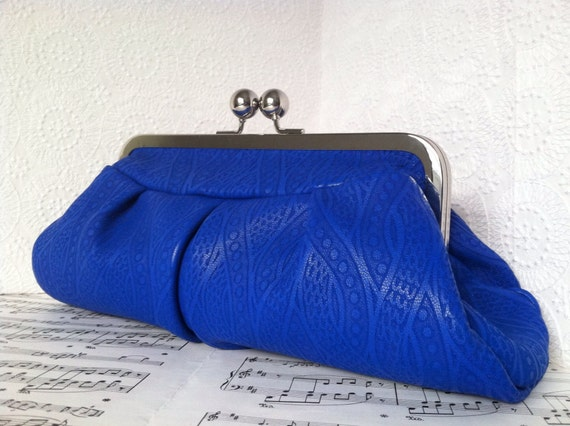 Cobalt Blue Leather Clutch Purse in Frame. Peacock Embossed Lambskin Clutch Bag