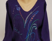 Hand Painted 100% Cotton Sweater Art toWear 'LINE DANCE' design on Purple Sweater