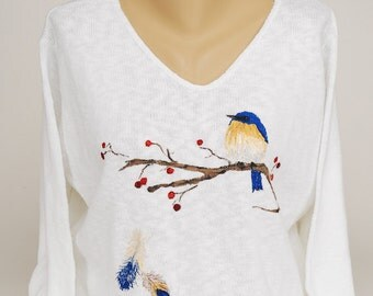 Hand Painted 100% Cotton Sweater 'BLUE' Bluebird design on  White Sweater