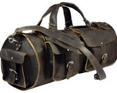 Made in USA, LARGER Leather Duffel Carry On Bag, Rich Chocolate Brown Distressed