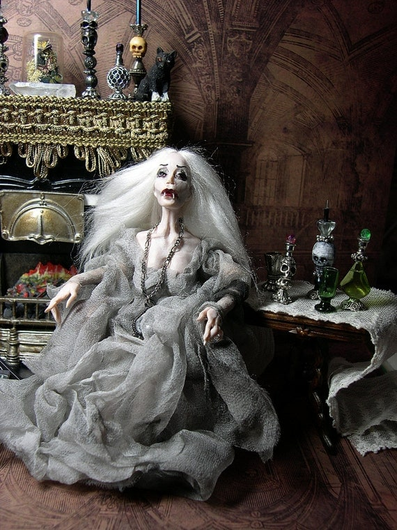 Halloween Ghost Vampire Miniature Ooak Dollhouse Poseable Doll