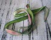 Hand Dyed Painted Habotai Silk Wrap Bracelet - green and pink - Fairy Ribbon - DIY Bracelet - Silk Ribbon Supply - Jewelry Supply