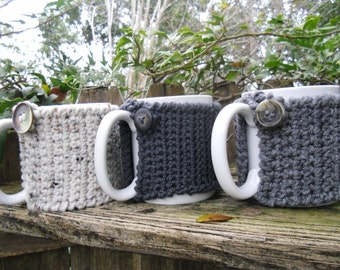 Tea or Coffee mug Cozy in Charcoals or  Oatmeal, cup cozy, mug sweater, mug cover