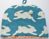 Knitted Tea Cosy- Bunny Rabbit Knitted Tea Cosy-Lambswool Tea Cozy-Blue & White Tea Pot Warmer-Spotty Tea Cosy- Tea Cosy Knit -Scottish Wool