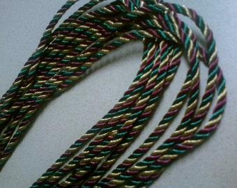 Twisted cording hunter green, burgundy, gold, with metallic thread