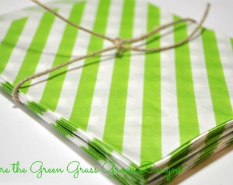 Bright Green and White Striped Paper Party Bags