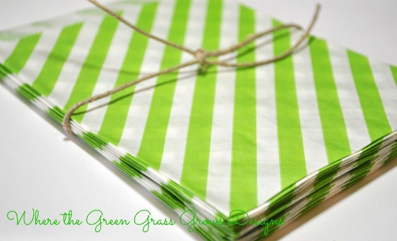 Lime Green and White Paper Party Bags
