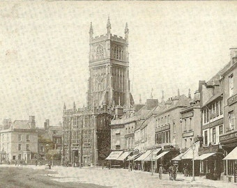 CIRENCESTER 1904 Vintage Photo postcard Wonderful street scene market area and architecture