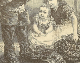 Children at Play With Father's Boots Original Bookplate from 1881 Chatterbox Nursery Art