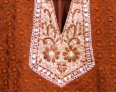 Free Size Embroidered Indian Tunic Dress (Deep Ginger)
