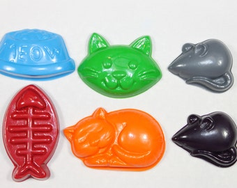 6 kitty theme crayons - in cello bag tied with ribbon - choose your colors