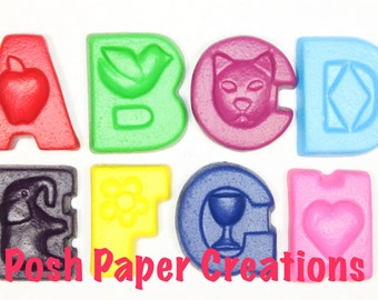 Fun letter crayons -  twelve (12) - assorted colors