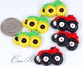 12pcs 32mm TRACTOR Flatback Resin Cabochons - Red / Green / Mixed