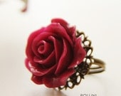 Florence  Ring - Oversize Maroon Red Rose (RG-13)