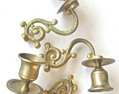 3 Beautiful Golden Brass Chandelier Candle Arms - Vintage DIY Altered Art Supply - Candle Holder