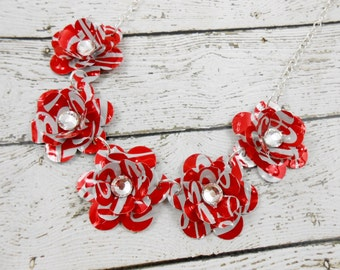 5 Mini Rose Statement Necklace.  Recycled Soda Can Art. Coca Cola