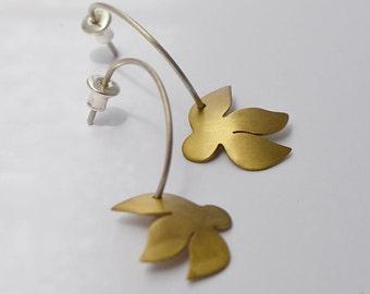 Small Flowers Earrings, Brass Earrings, Dangle Earrings, Silver Earrings