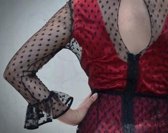 Vintage Black Lace Net Sheer Dress and Slip