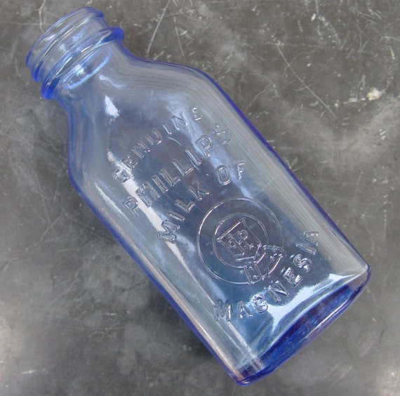 Vintage Genuine Phillips Milk Of Magnesia Blue Glass Bottle