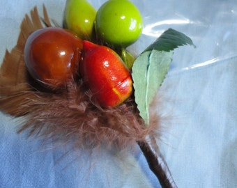 Pretty Feather and Fruit Brooch or Hat Pin from West Germany