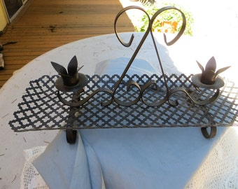 Very Cool Vintage Black Metal Punch Out Grate Type Double Candle Holder