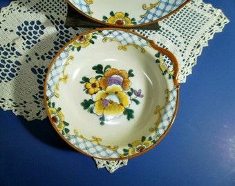 2 Vintage Noritake Handpainted Plate Bowl Set, Red Wreath M, Made In Japan Floral Lusterware