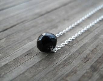 Bridesmaid gift, Minimalist Delicate Necklace, Black faceted Onyx Necklace, Sterling Silver Chain, Onyx Jewelry, Birthstone Necklace, Sale
