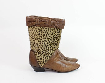 Leopard Leather Boots 7 | Slouchy Mid Calf Heeled Boots