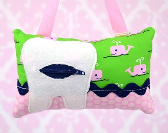 Tooth Fairy Pillow- In Little Kukla Fabric RK Posie Button Flowers in All Hands On Deck - Pink Navy Green Preppy Whale