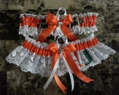 Wedding Garters U of Miami Hurricanes fabric garter any size color or style.