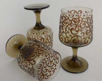 3 Libbey Prado Water or Wine Goblets, 1970s, Raised Scroll Pattern on Smoky Tawny Brown Glass