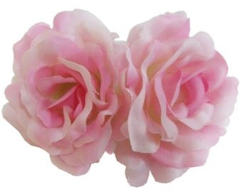 Pink Silk Rose flower Barrette Hair Clip