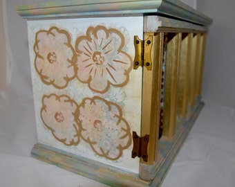 Hand Painted Vintage Jewelry Box Gold Blue Pink Studded French Carousel Floral Wooden Box Purple Velvet Drawers