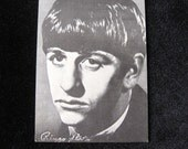 """Original  Early Sixties Beatles Arcade Card 3 3/8"""" x 5 3/8"""" Ringo Star with Printed Autograph"""