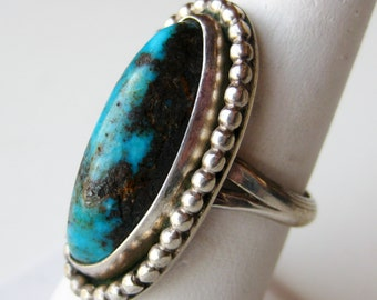 Vintage Old Pawn Silver Turquoise Navajo American Indian Ring size 7