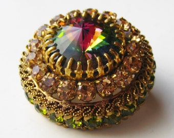 Vintage 50s Rivoli Rhinestone Jeweled Austrian Crystal Gold Filigree Brooch Pin