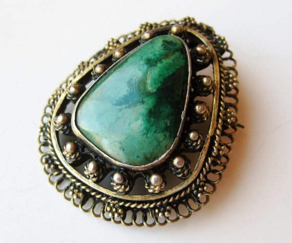 Vintage Gold Vermeil 800 Belgian Silver Filigree Turquoise Eilat Stone Necklace Pendant Brooch Pin