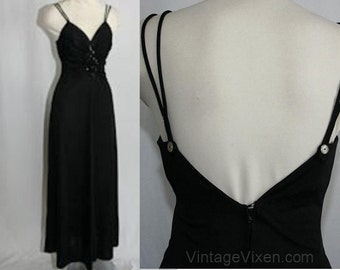 Size 4 Diva 1970s Black Jersey Disco Dress - Small Evening Gown - Glam 70s Formal Prom Homecoming - Sexy Sequins Torso - Bust 33 - 28348