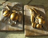 plaster fruit plaques gold wall plaques mid century wall plaques creative art inc.