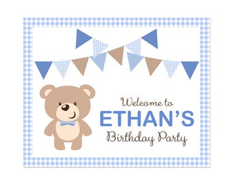 50% Off Sale! - PRINTABLE Boy or Girl Teddy Bear Party Welcome Sign