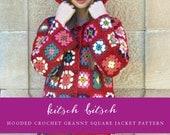 Hooded Crochet Granny Square Jacket Pattern S M L