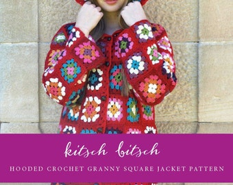 Hooded Crochet Granny Square Jacket Pattern S M L