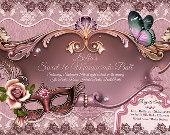 Mardi Gras Party, Masquerade Party, Mask Party Invitations, Masquerade Invitation, Party Invitation