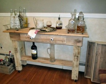Bar Cart, Buffet Table, Occasional Table, Reclaimed Wood  Table, With Wheels,Wine Cart,Eco Friendly