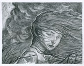 """Let it All Burn 11x14"""" original graphite and charcoal illustration by Michael Foley"""