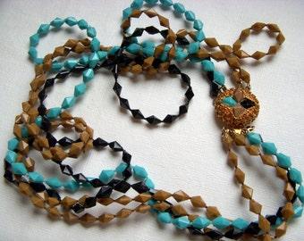 Retro Bead Necklace - Black, Mocha and Turquoise