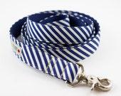 Navy Ivory Stripes Dog Leash